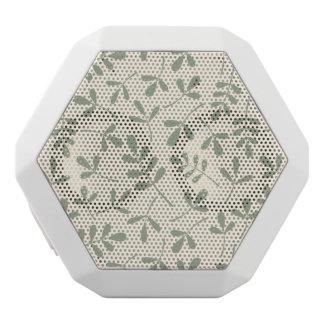 Assorted Green Leaves on Cream Pattern White Bluetooth Speaker