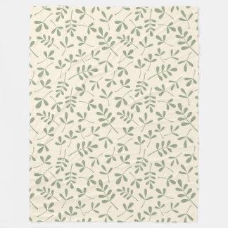 Assorted Green Leaves on Cream Repeat Pattern Fleece Blanket