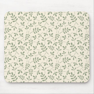 Assorted Green Leaves on Cream Repeat Pattern Mouse Mat