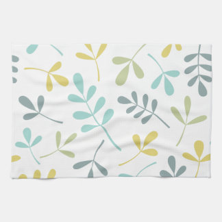 Assorted Leaves Big Pattern Color Mix on White Tea Towel
