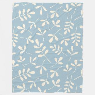 Assorted Leaves Cream on Blue Pattern Fleece Blanket