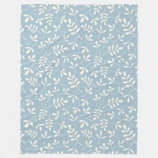 Assorted Leaves Cream on Blue Repeat Pattern Fleece Blanket