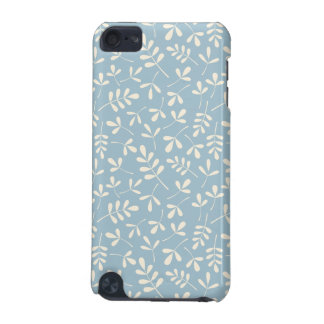 Assorted Leaves Cream on Blue Repeat Pattern iPod Touch 5G Case