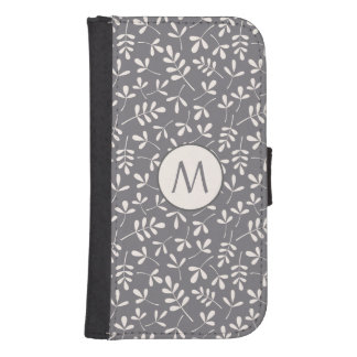 Assorted Leaves Crm on Grey Rpt Ptn (Personalized) Samsung S4 Wallet Case