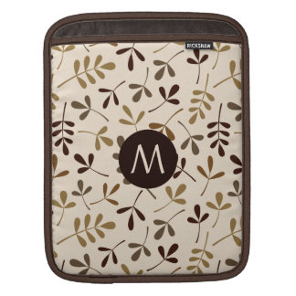Assorted Leaves Gold Browns Crm Ptn (Personalised) iPad Sleeve