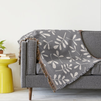 Assorted Leaves Large Pattern Cream on Grey Throw Blanket
