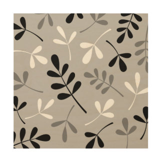 Assorted Leaves Monochrome Design Wood Print