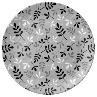Assorted Leaves Monochrome Repeat Pattern Plate
