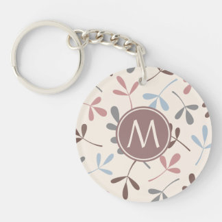 Assorted Leaves Pastel Colors (Personalized) Double-Sided Round Acrylic Key Ring