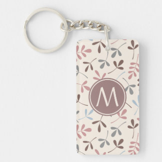 Assorted Leaves Pastel Colors Ptn (Personalized) Double-Sided Rectangular Acrylic Key Ring