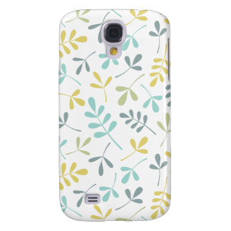 Assorted Leaves Pattern Color Mix on White Galaxy S4 Case