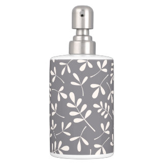 Assorted Leaves Pattern Cream on Grey Bathroom Set
