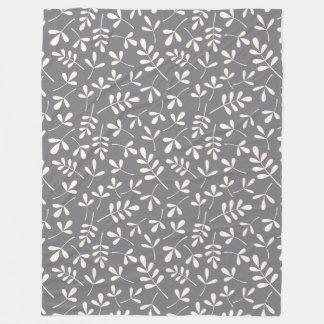 Assorted Leaves Pattern Cream on Grey Fleece Blanket