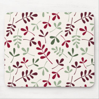 Assorted Leaves Ptn Reds & Greens on Cream Mouse Pad