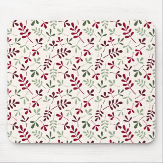Assorted Leaves Repeat Ptn Reds & Greens on Cream Mouse Pad