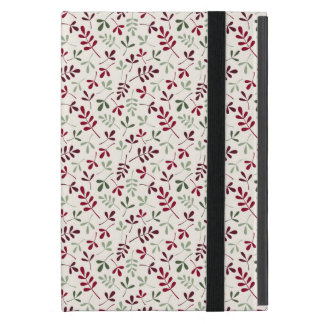 Assorted Leaves Small Ptn Reds & Greens on Cream iPad Mini Case