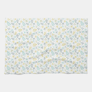 Assorted Leaves Sml Pattern Color Mix on White Tea Towel