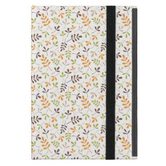 Assorted Leaves Sml Ptn Brwn Orange Grn Sand White iPad Mini Covers