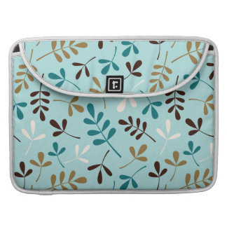 Assorted Leaves Teals Cream Gold Brown Ptn Sleeve For MacBook Pro