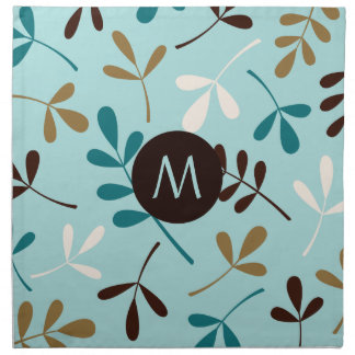 Assorted Leaves Teals Crm Gld Brown (Personalised) Napkin