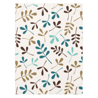 Assorted Leaves Teals Gold Brown on Cream Lg Ptn Tablecloth
