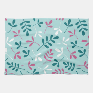 Assorted Leaves Teals White Pink Big Pattern Tea Towel