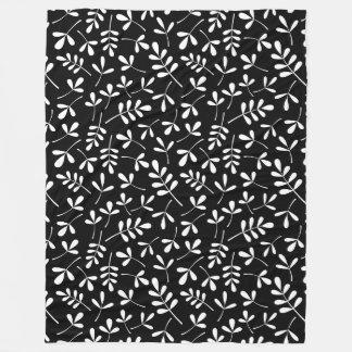 Assorted Leaves White on Black Repeat Pattern Fleece Blanket