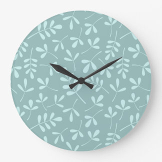 Assorted Light on Mid Teal Leaves Pattern Large Clock
