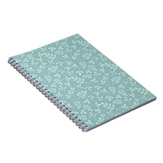 Assorted Light on Mid Teal Leaves Repeat Pattern Notebook