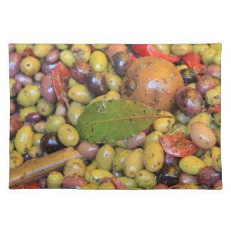 Assorted olives on a Provencal market in France Placemat