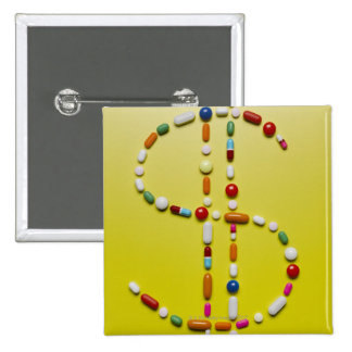Assorted pills creating dollar symbol 15 cm square badge