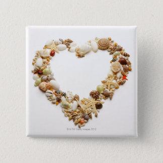 Assorted seashells form heart shape 15 cm square badge