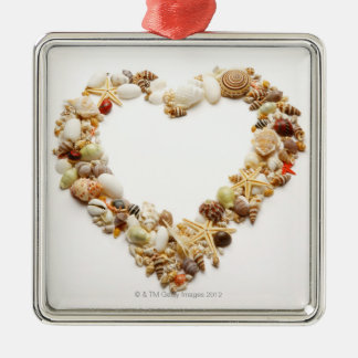 Assorted seashells form heart shape christmas ornament
