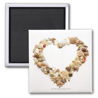 Assorted seashells form heart shape square magnet