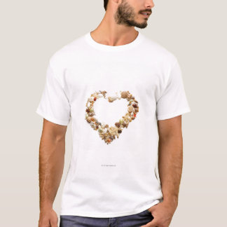 Assorted seashells form heart shape T-Shirt