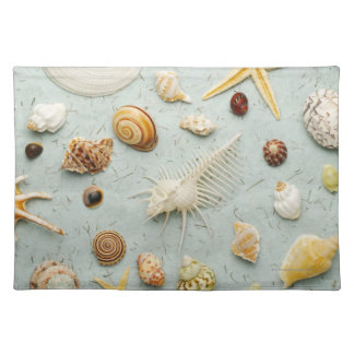 Assorted seashells on blue background placemat