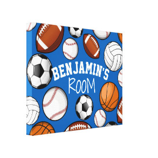 Assorted Sports All STAR Custom Name Bedroom Canvas Print