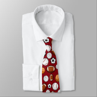 Assorted Sports All STAR Dark Red Colored Tie