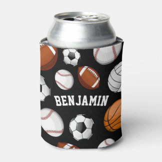 Assorted Sports Player Custom Name Black Can Cooler