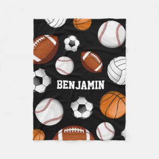 Assorted Sports Player Custom Name Black Fleece Blanket