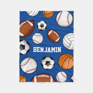 Assorted Sports Player Custom Name Blue Fleece Blanket