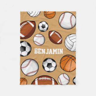 Assorted Sports Player Custom Name Tan Fleece Blanket