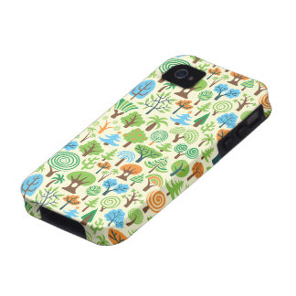 Assorted Trees- Retro Style Pattern-Small Spint Case-Mate iPhone 4 Case
