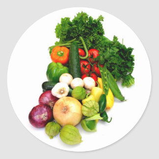 Assorted Vegetables Classic Round Sticker