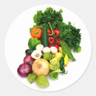 Assorted Vegetables Round Sticker