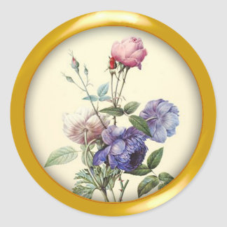 Assorted Vintage Flowers and Metallic Gold Frame Round Sticker