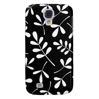 Assorted White Leaves on Black Design Galaxy S4 Case