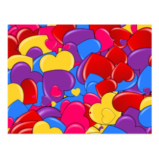 Assortment Candy Coated Valentine Chocolate Hearts Postcard