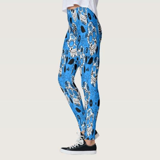 Assortment of blue and white sugar skull leggings