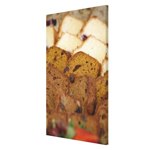 Assortment of Breakfast Breads and Cakes Stretched Canvas Print